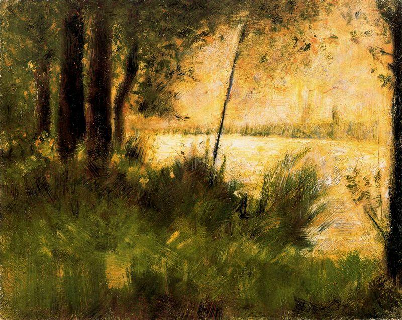 famous painting Grassy Riverbank of Georges Pierre Seurat