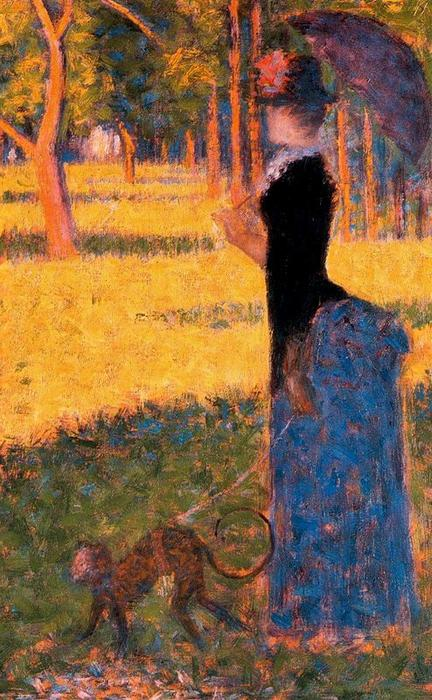 famous painting Lady with a Monkey of Georges Pierre Seurat