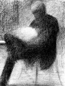 Georges Pierre Seurat - Man Reading on a Terrace