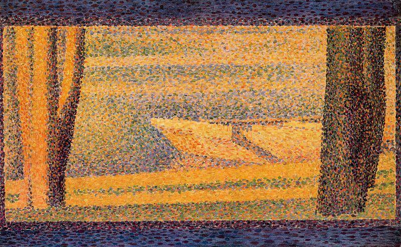 famous painting Moored Boats and trees of Georges Pierre Seurat