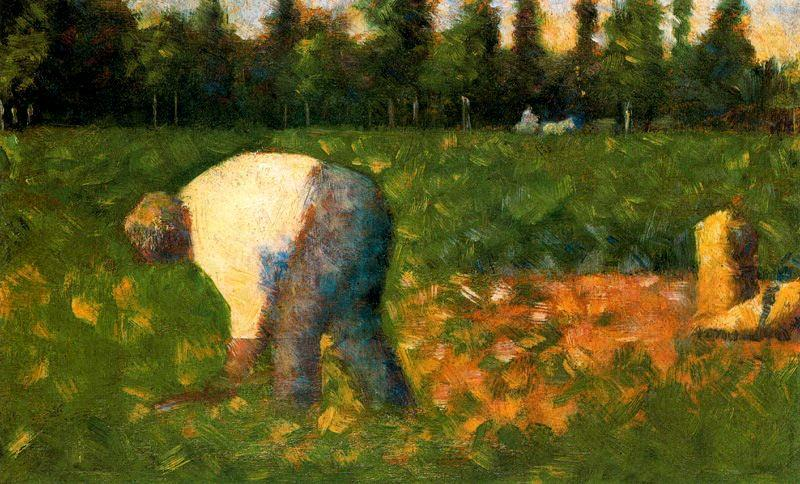famous painting Peasant Laboring of Georges Pierre Seurat