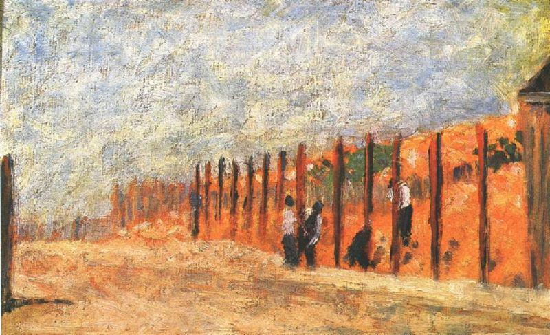 famous painting Peasants Driving Stakes of Georges Pierre Seurat