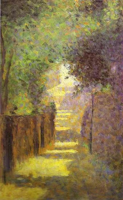 famous painting Rue Saint-Vincent, Montmartre, in Spring of Georges Pierre Seurat