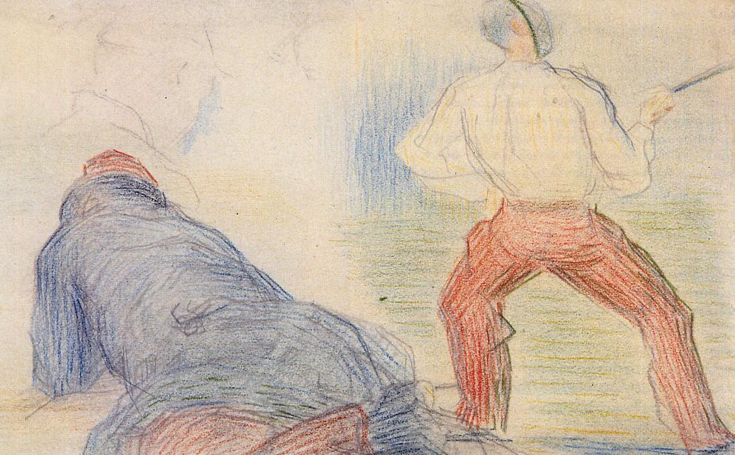 famous painting Soldier Fencing, Another Reclining of Georges Pierre Seurat