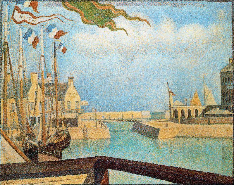 famous painting Sunday at Port en Bessin of Georges Pierre Seurat