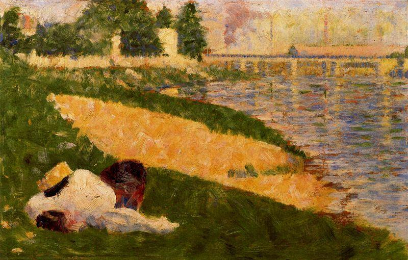 famous painting The Seine with Clothing on the Bank of Georges Pierre Seurat