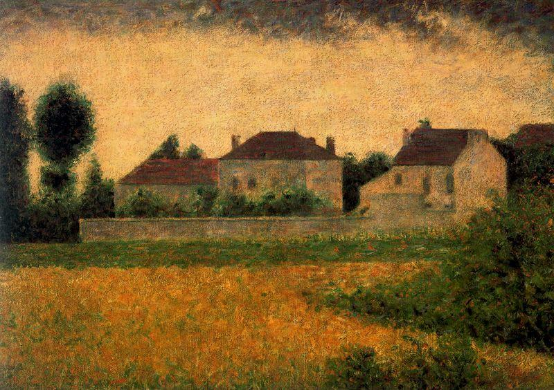 famous painting White Houses at Ville d'Avray of Georges Pierre Seurat