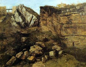Gustave Courbet - Crumbling Rocks