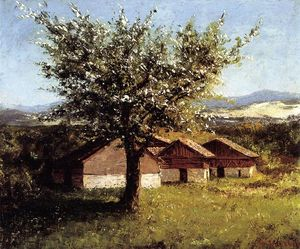 Gustave Courbet - Swiss Landscape with Flowering Apple Tree
