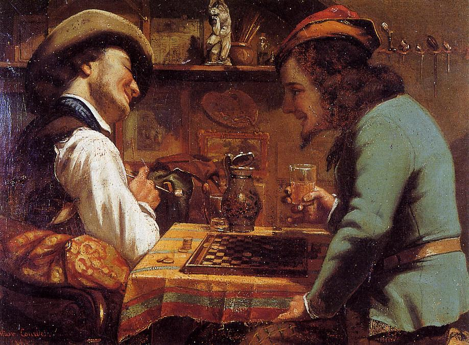 famous painting The Draughts Players of Gustave Courbet