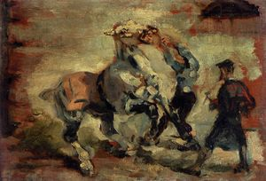 Henri De Toulouse Lautrec - Horse Fighting His Groom