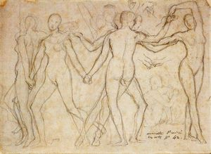 Jean Auguste Dominique Ingres - The Dancers (study for The Golden Age)