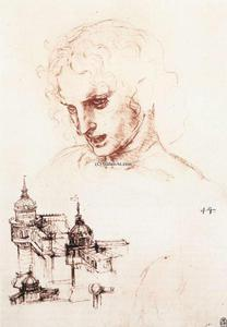 Leonardo Da Vinci - Study of an apostle's head and architectural study