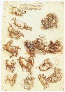 Leonardo Da Vinci - Study sheet with horses