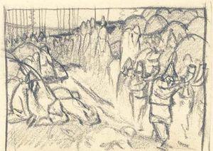 Nicholas Roerich - Sketch of scene from ancient life 1