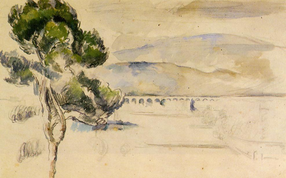 famous painting Pine Tree in the Arc Valley of Paul Cezanne