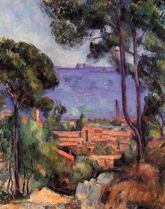 famous painting View through the Trees of Paul Cezanne