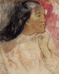 Paul Gauguin - A Tahitian Woman with a Flower in Her Hair
