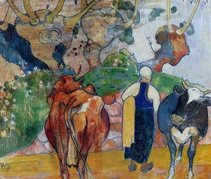 Paul Gauguin - Peasant Woman and Cows in a Landscape
