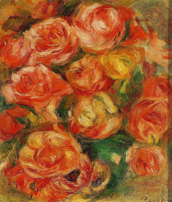 famous painting A Bowlful of Roses of Pierre-Auguste Renoir