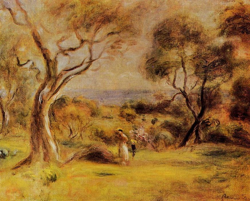 famous painting A Walk by the Sea of Pierre-Auguste Renoir
