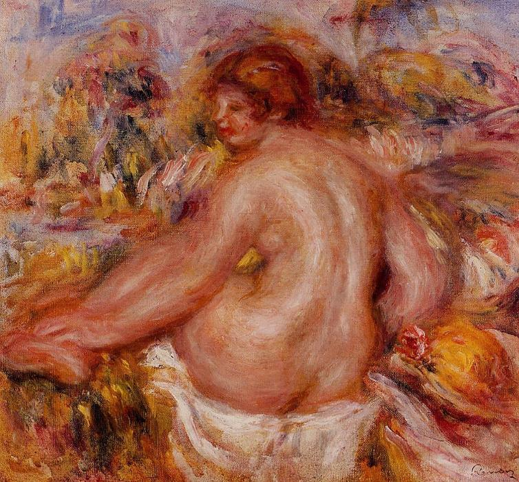 famous painting After Bathing, Seated Female Nude of Pierre-Auguste Renoir