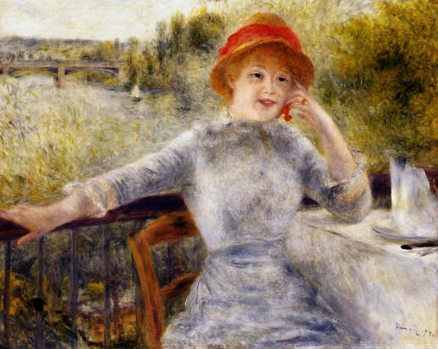 famous painting Alphonsine Fournaise on the Isle of Chatou of Pierre-Auguste Renoir