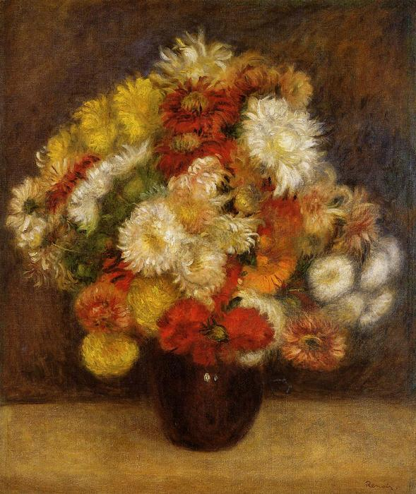 famous painting Bouquet of Chrysanthemums of Pierre-Auguste Renoir