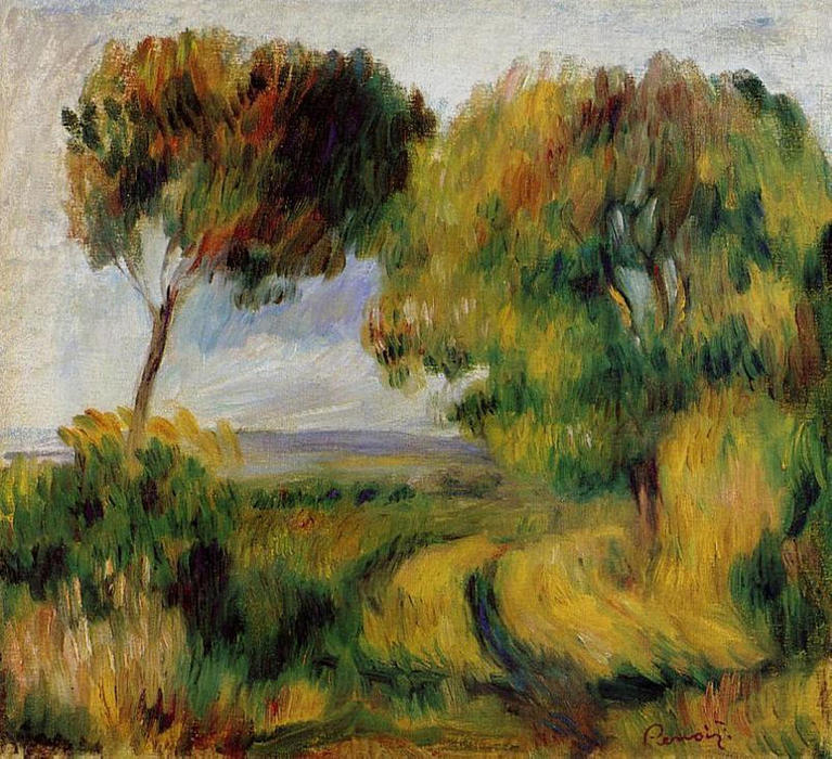 famous painting Breton Landscape Trees and Moor of Pierre-Auguste Renoir