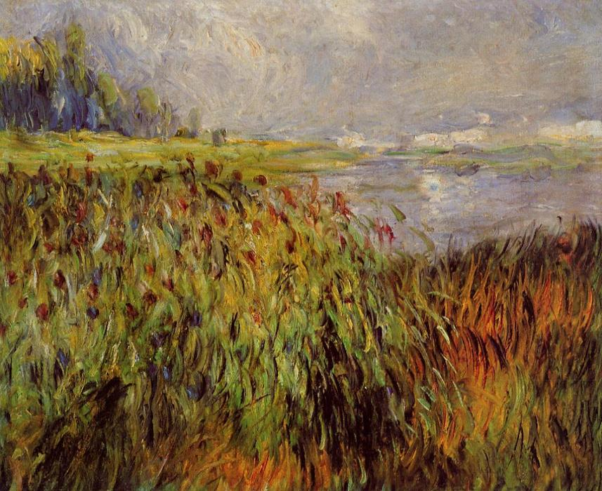 famous painting Bulrushes on the Banks of the Seine of Pierre-Auguste Renoir