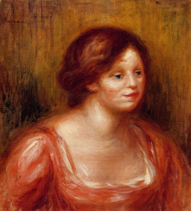 famous painting Bust of a Woman in a Red Blouse of Pierre-Auguste Renoir