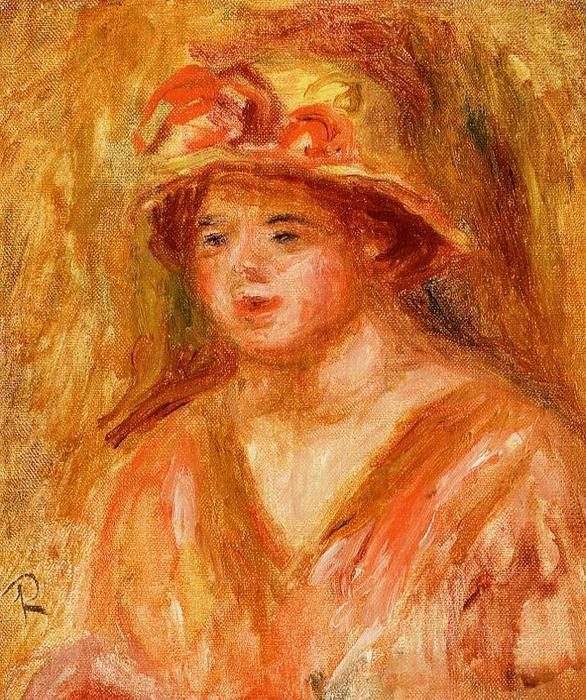 famous painting Bust of a Young Girl in a Straw Hat of Pierre-Auguste Renoir