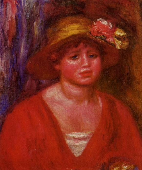 famous painting Bust of a Young Woman in a Red Blouse of Pierre-Auguste Renoir