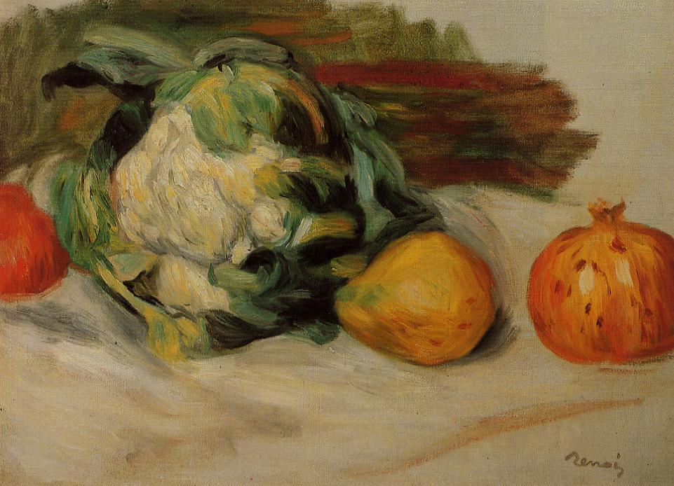 famous painting Cauliflower and Pomegranates of Pierre-Auguste Renoir