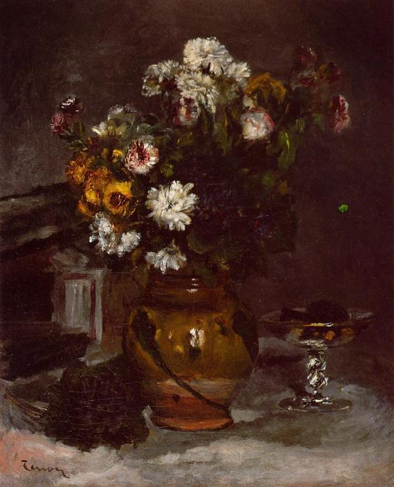 famous painting Flowers in a Vase and a Glass of Champagne of Pierre-Auguste Renoir