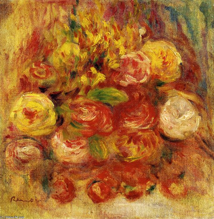 famous painting Flowers in a Vase with Blue Decoration of Pierre-Auguste Renoir
