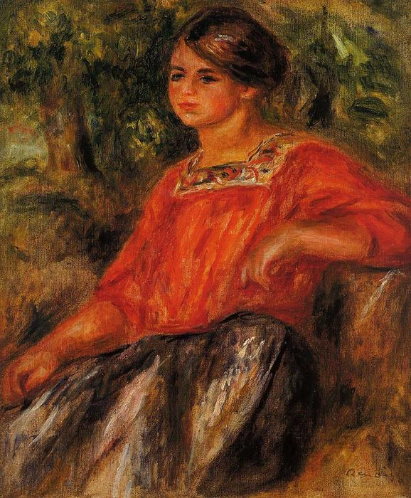 famous painting Gabrielle in the Garden at Cagnes of Pierre-Auguste Renoir