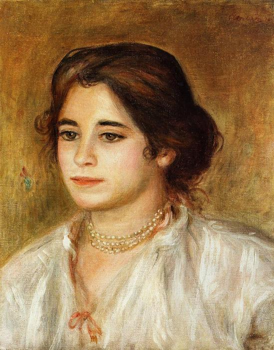 famous painting Gabrielle Wearing a Necklace of Pierre-Auguste Renoir