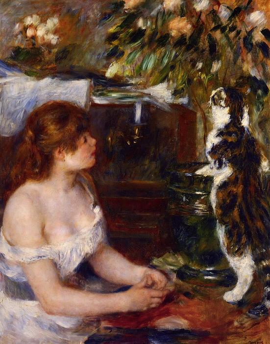 famous painting Girl and Cat of Pierre-Auguste Renoir