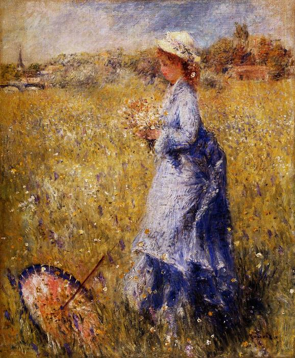 famous painting Girl Gathering Flowers of Pierre-Auguste Renoir