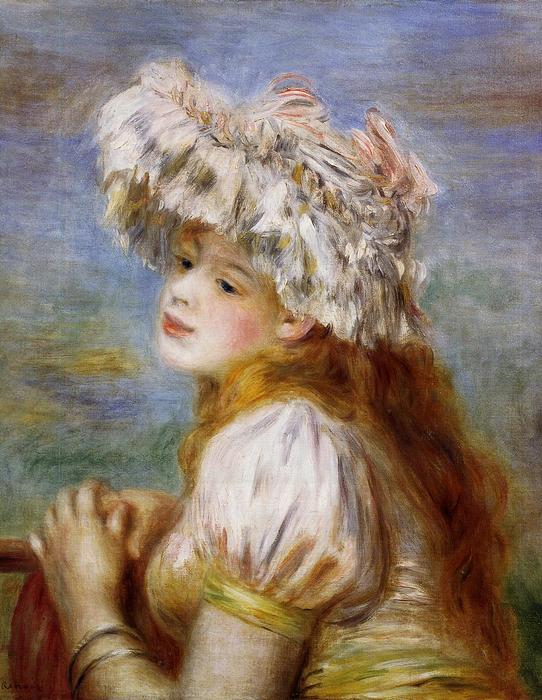 famous painting Girl in a Lace Hat of Pierre-Auguste Renoir