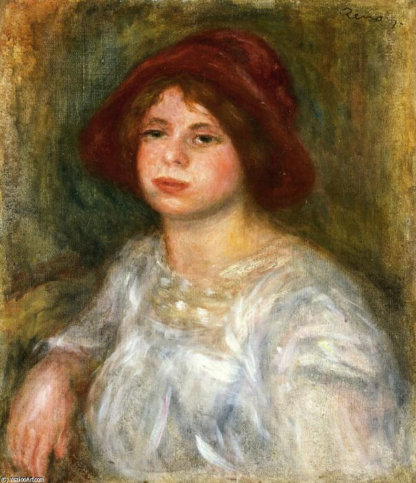 famous painting Girl in a Red Hat of Pierre-Auguste Renoir