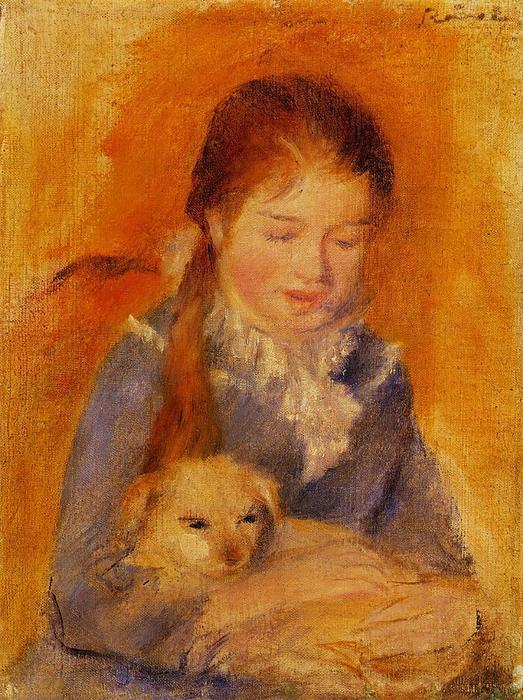 famous painting Girl with a Dog of Pierre-Auguste Renoir