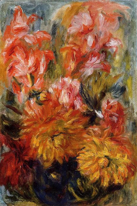famous painting Gladiolas in a Blue Vase of Pierre-Auguste Renoir