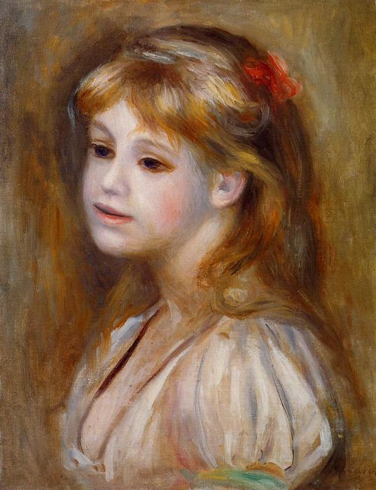 famous painting Little Girl with a Red Hair Knot of Pierre-Auguste Renoir