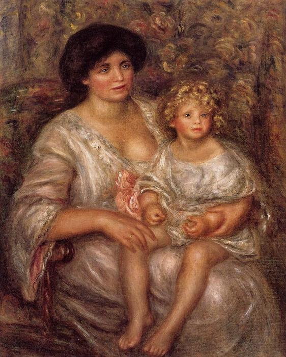 famous painting Madame Thurneyssan and Her Daughter of Pierre-Auguste Renoir