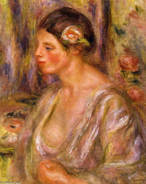 famous painting Madeline wearing a Rose of Pierre-Auguste Renoir