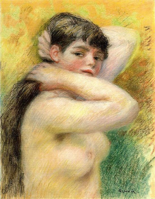 famous painting Nude Arranging Her Hair of Pierre-Auguste Renoir