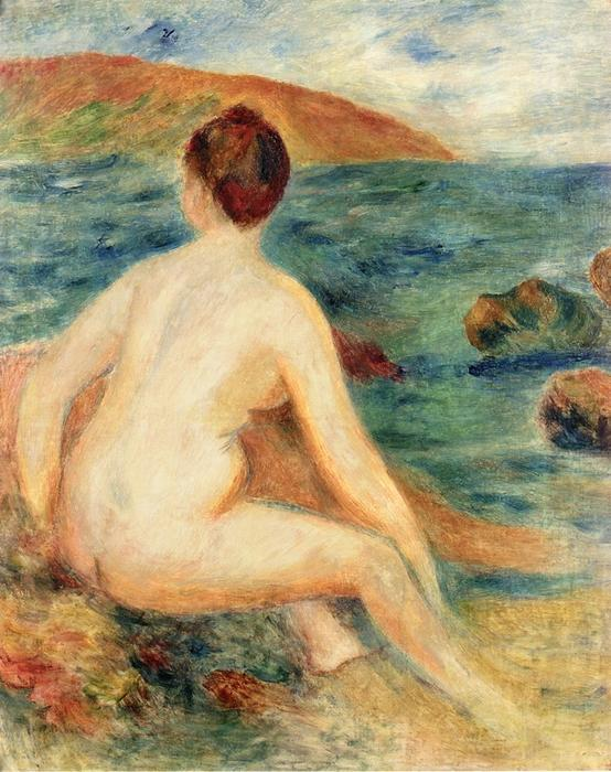 famous painting Nude Bather Seated by the Sea of Pierre-Auguste Renoir