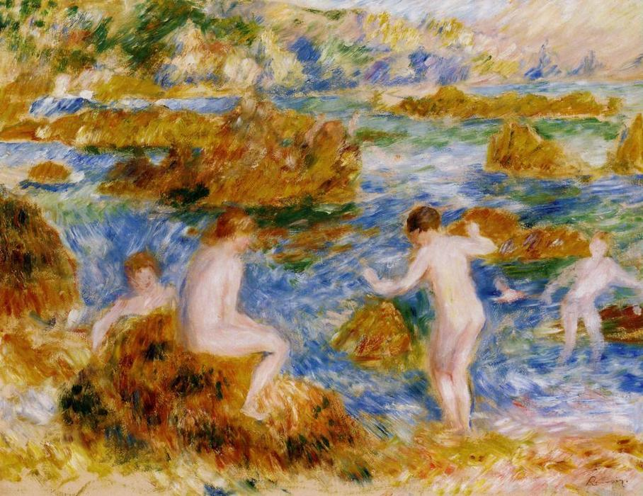 famous painting Nude Boys on the Rocks at Guernsey of Pierre-Auguste Renoir